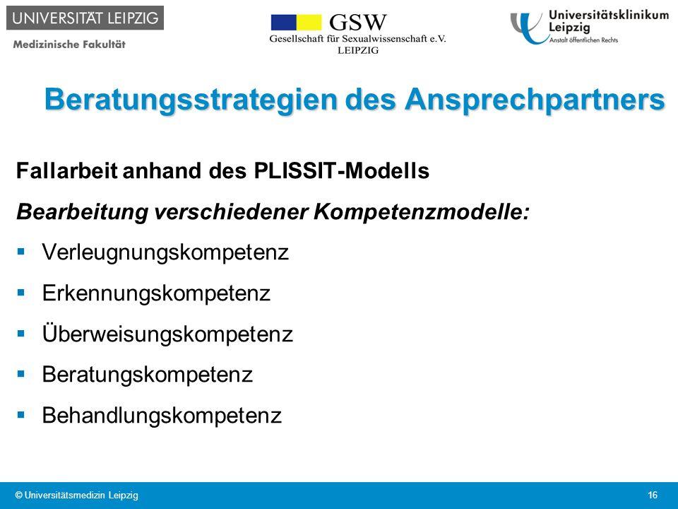 Beratungsstrategien des Ansprechpartners Fallarbeit anhand des PLISSIT-Modells Bearbeitung verschiedener Kompetenzmodelle: Verleugnungskompetenz Erken
