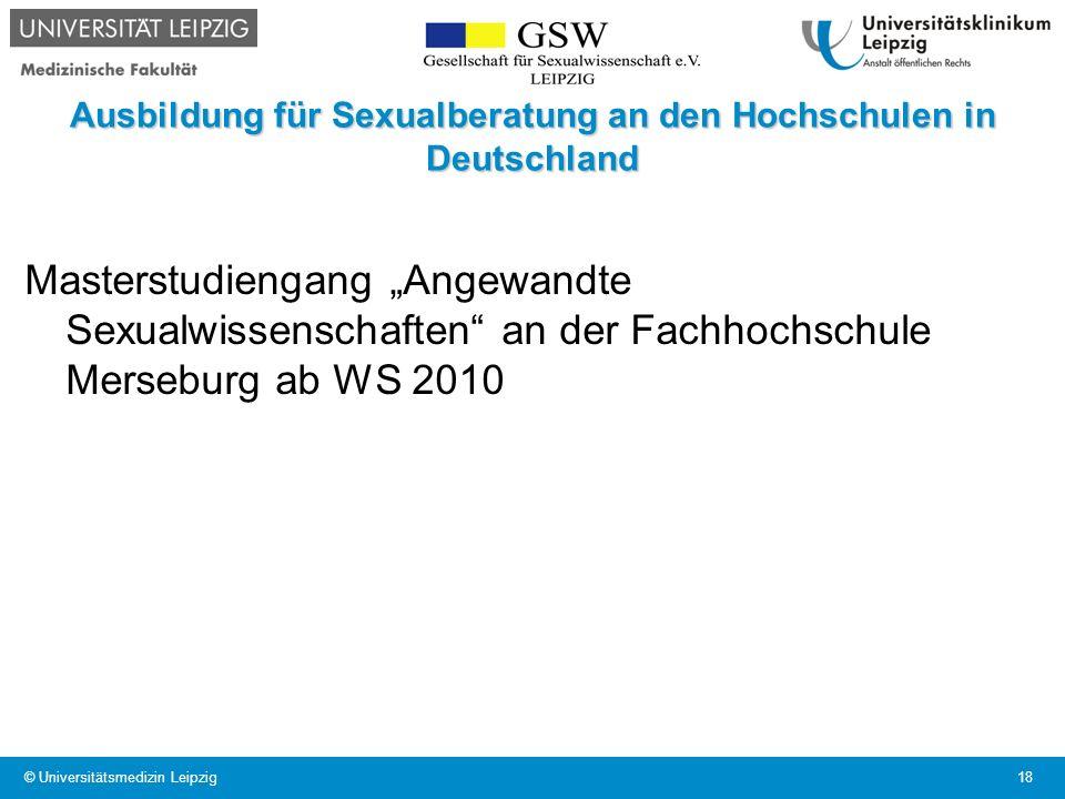Ausbildung für Sexualberatung an den Hochschulen in Deutschland Masterstudiengang Angewandte Sexualwissenschaften an der Fachhochschule Merseburg ab W