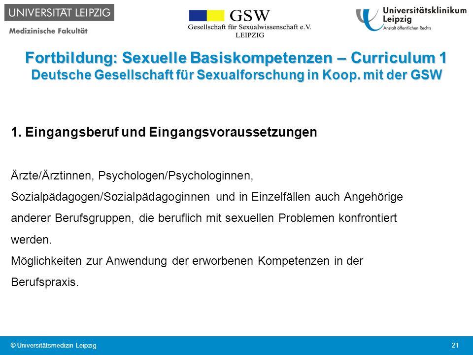 Fortbildung: Sexuelle Basiskompetenzen – Curriculum 1 Deutsche Gesellschaft für Sexualforschung in Koop. mit der GSW 1. Eingangsberuf und Eingangsvora