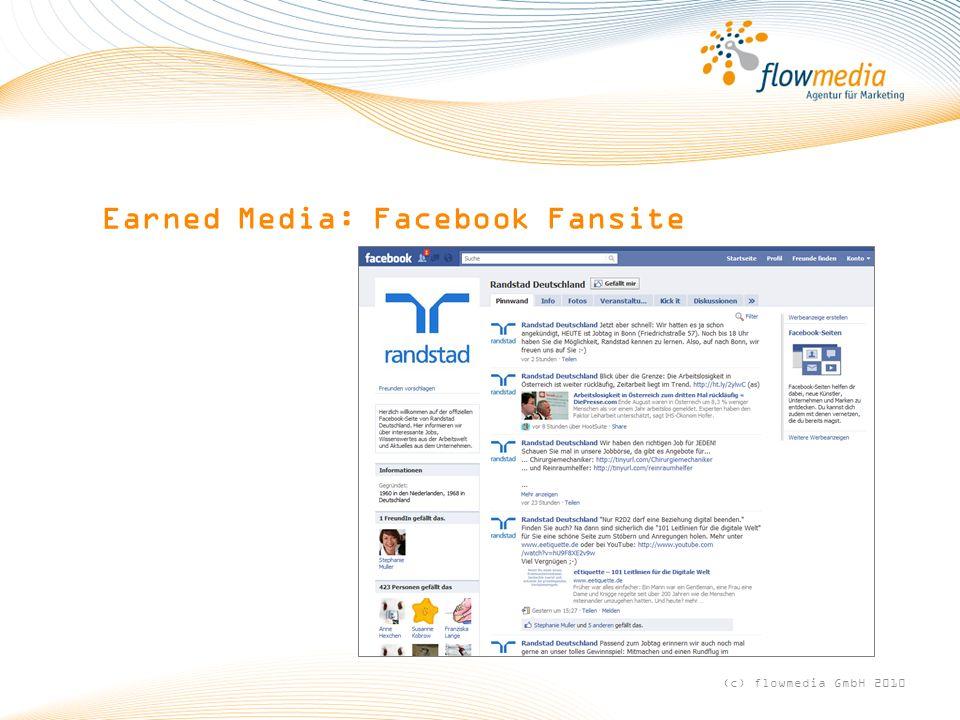 Earned Media: Facebook Fansite (c) flowmedia GmbH 2010