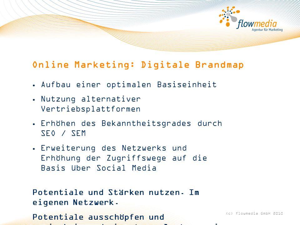 Online Marketing: Digitale Brandmap Aufbau einer optimalen Basiseinheit Nutzung alternativer Vertriebsplattformen Erhöhen des Bekanntheitsgrades durch SEO / SEM Erweiterung des Netzwerks und Erhöhung der Zugriffswege auf die Basis über Social Media Potentiale und Stärken nutzen.