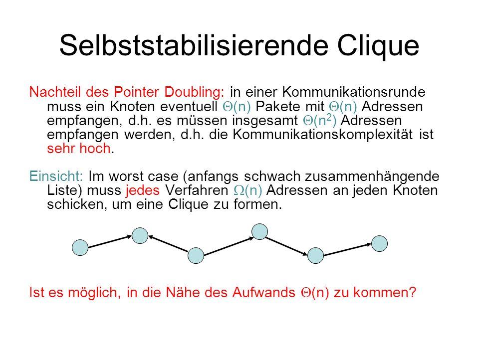 Selbststabilisierende Clique Nachteil des Pointer Doubling: in einer Kommunikationsrunde muss ein Knoten eventuell (n) Pakete mit (n) Adressen empfangen, d.h.
