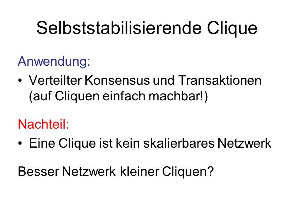 Selbststabilisierende Clique Anwendung: Verteilter Konsensus und Transaktionen (auf Cliquen einfach machbar!) Nachteil: Eine Clique ist kein skalierbares Netzwerk Besser Netzwerk kleiner Cliquen