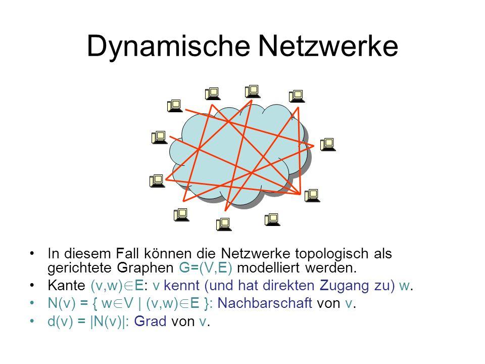 Dynamische Netzwerke In diesem Fall können die Netzwerke topologisch als gerichtete Graphen G=(V,E) modelliert werden.