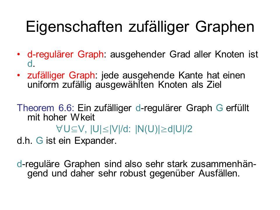 Eigenschaften zufälliger Graphen d-regulärer Graph: ausgehender Grad aller Knoten ist d.