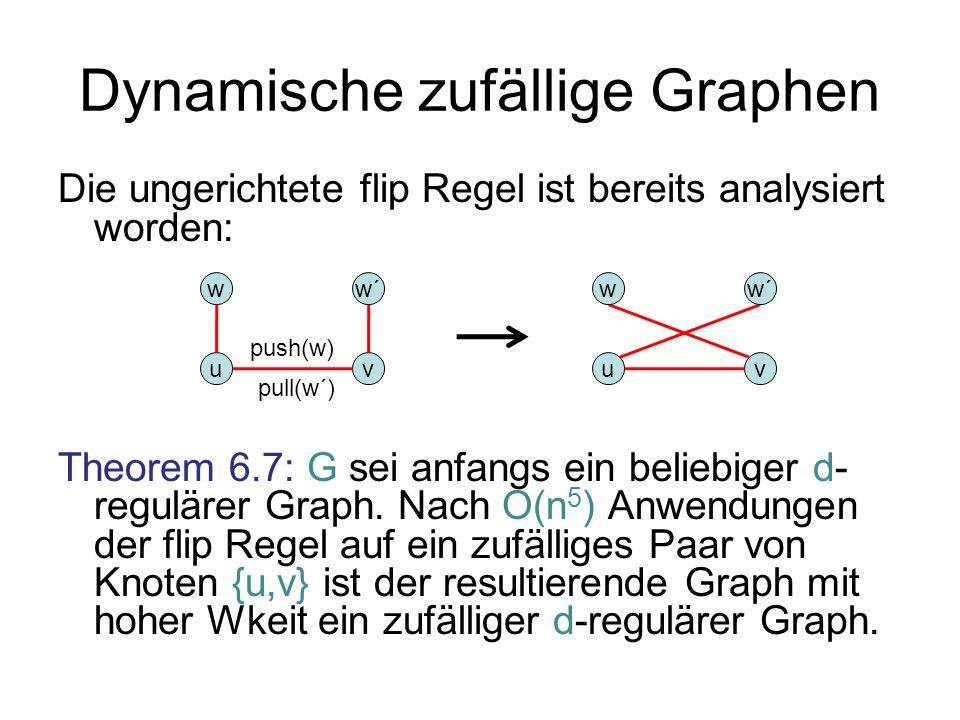 Dynamische zufällige Graphen Die ungerichtete flip Regel ist bereits analysiert worden: Theorem 6.7: G sei anfangs ein beliebiger d- regulärer Graph.