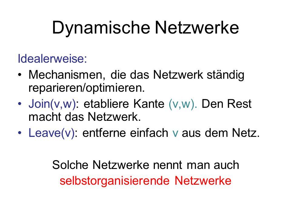 Dynamische Netzwerke Verschiedene Kategorien selbstorganisierender Netzwerke: Selbststabilisierende Netzwerke: Netzwerke, die von einem beliebigen Zustand mit schwachem Zusammenhang wieder zurück in einen legalen Zustand gelangen können (unter der Voraussetzung, dass während dieses Prozesses keine join oder leave Ereignisse stattfinden).