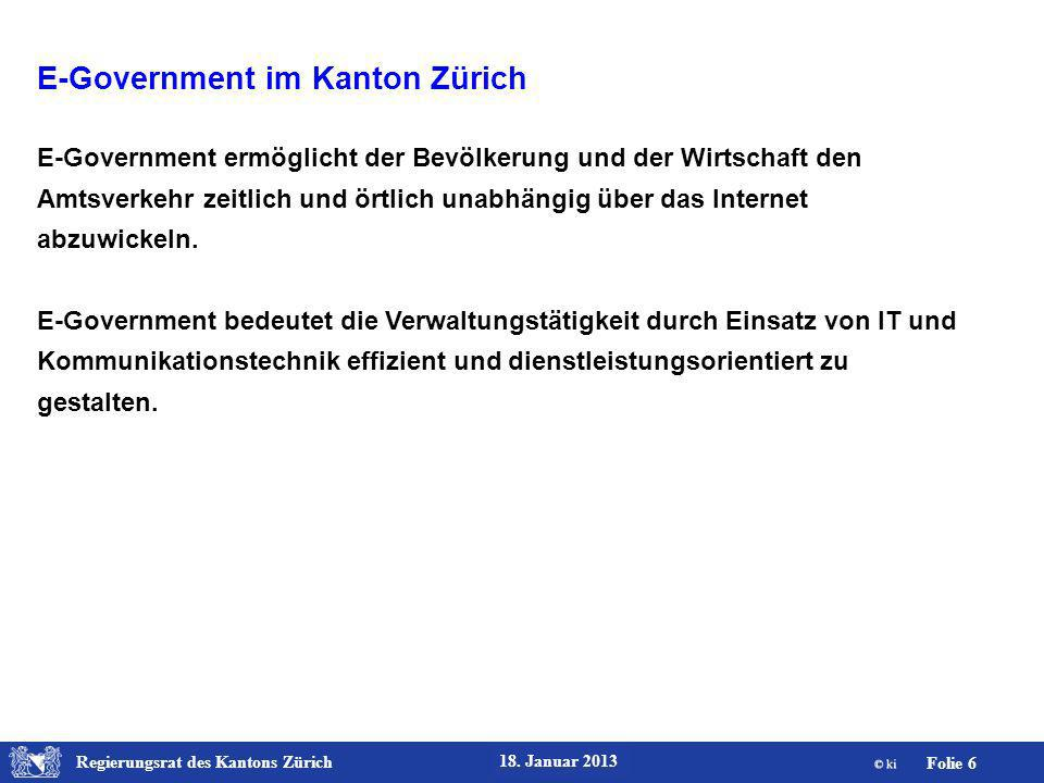Regierungsrat des Kantons Zürich Folie 27 18.