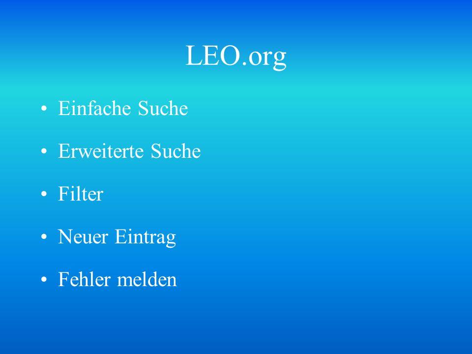 LEO.org Einfache Suche Erweiterte Suche Filter Neuer Eintrag Fehler melden