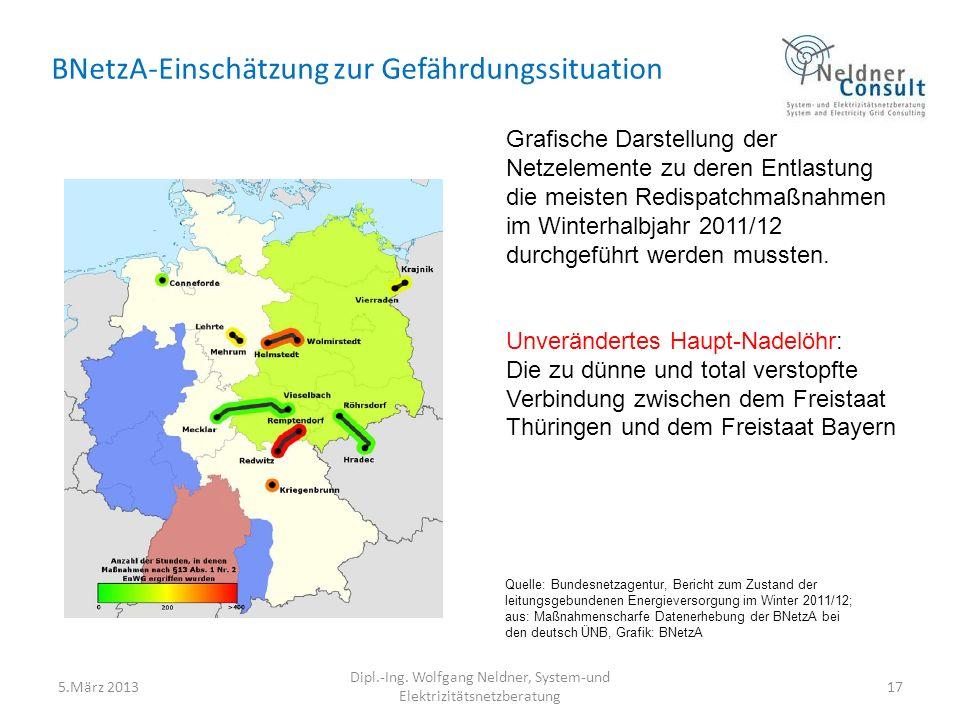 BNetzA-Einschätzung zur Gefährdungssituation Grafische Darstellung der Netzelemente zu deren Entlastung die meisten Redispatchmaßnahmen im Winterhalbjahr 2011/12 durchgeführt werden mussten.