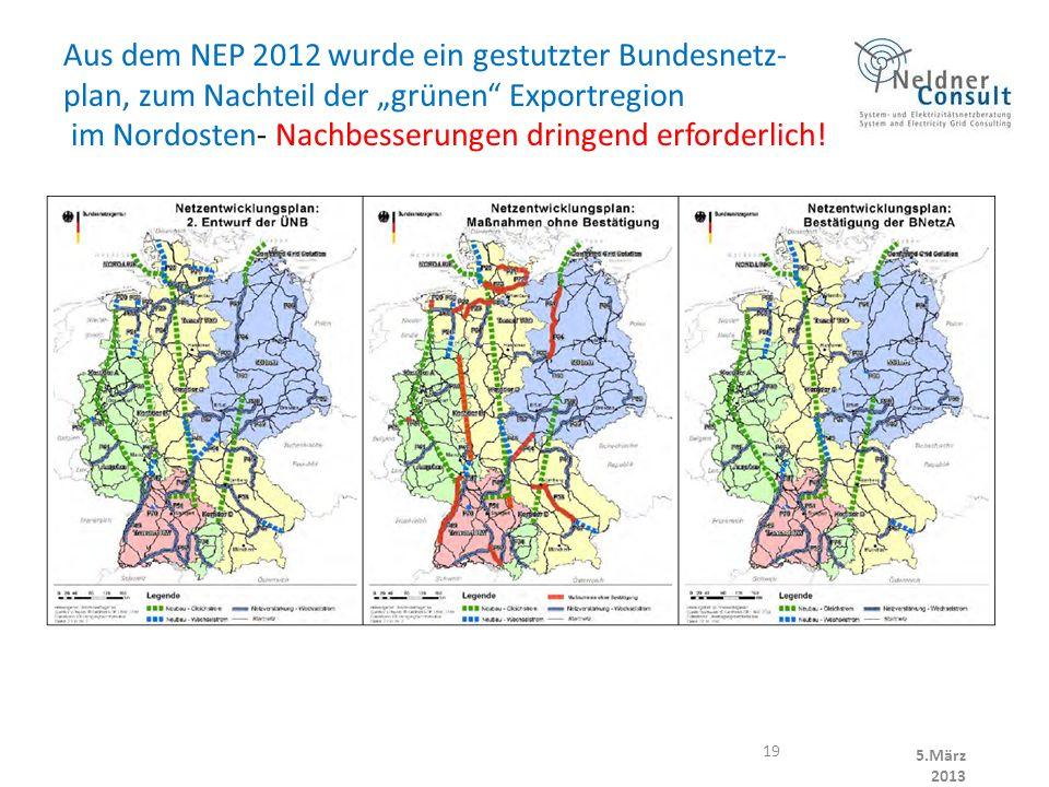 Aus dem NEP 2012 wurde ein gestutzter Bundesnetz- plan, zum Nachteil der grünen Exportregion im Nordosten- Nachbesserungen dringend erforderlich.