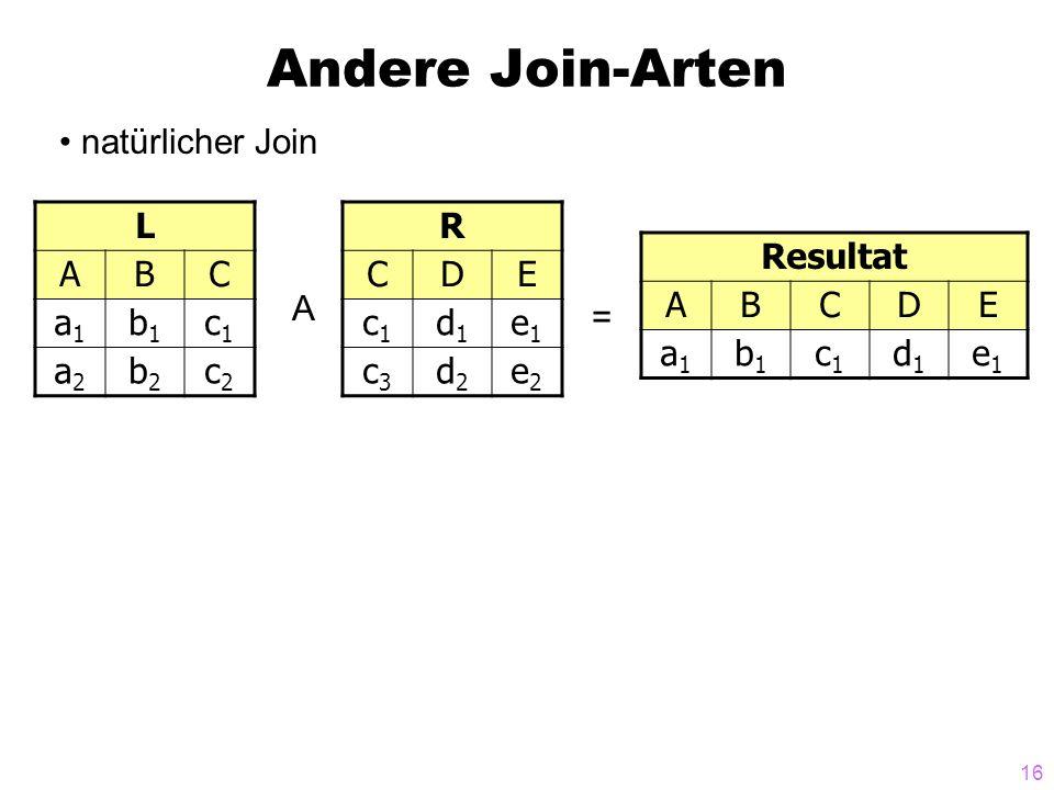 16 Andere Join-Arten natürlicher Join L ABC a1a1 b1b1 c1c1 a2a2 b2b2 c2c2 R CDE c1c1 d1d1 e1e1 c3c3 d2d2 e2e2 A = Resultat ABCDE a1a1 b1b1 c1c1 d1d1 e1e1