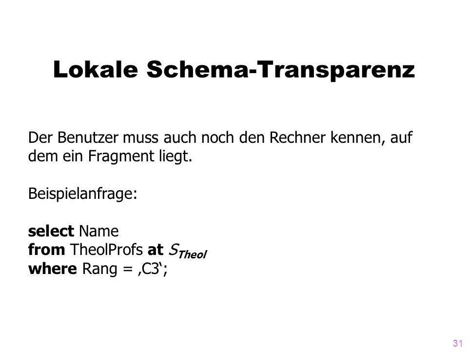 31 Lokale Schema-Transparenz Der Benutzer muss auch noch den Rechner kennen, auf dem ein Fragment liegt. Beispielanfrage: select Name from TheolProfs