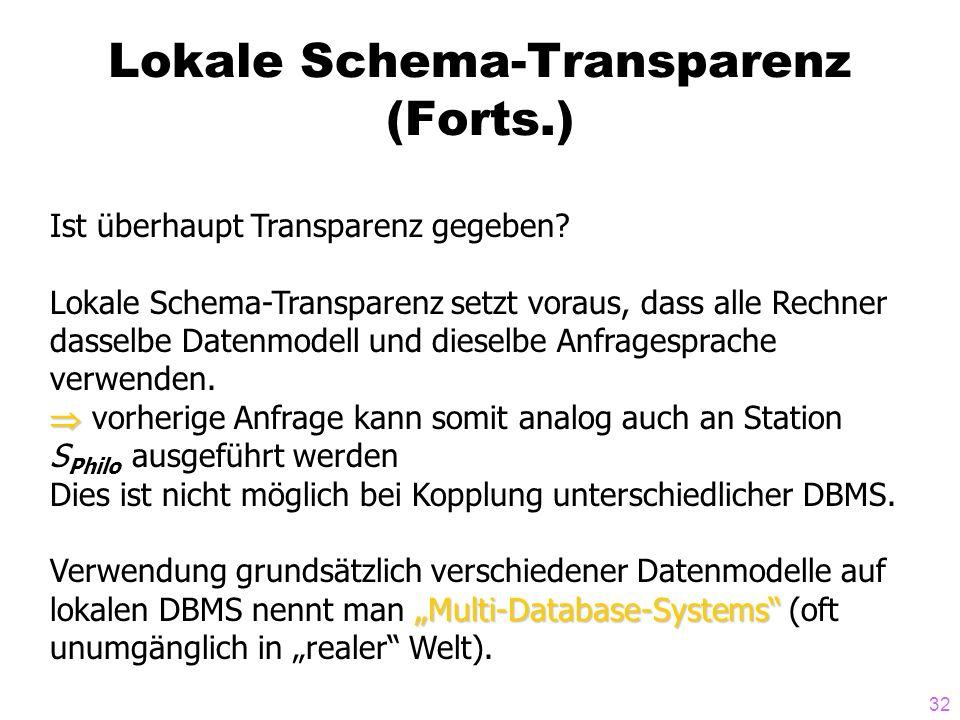 32 Lokale Schema-Transparenz (Forts.) Ist überhaupt Transparenz gegeben? Lokale Schema-Transparenz setzt voraus, dass alle Rechner dasselbe Datenmodel