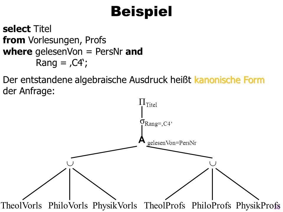 35 Beispiel select Titel from Vorlesungen, Profs where gelesenVon = PersNr and Rang = C4; kanonische Form Der entstandene algebraische Ausdruck heißt