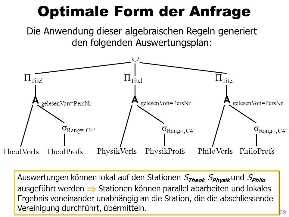 39 Optimale Form der Anfrage Die Anwendung dieser algebraischen Regeln generiert den folgenden Auswertungsplan: Π Titel A gelesenVon=PersNr σ Rang=C4