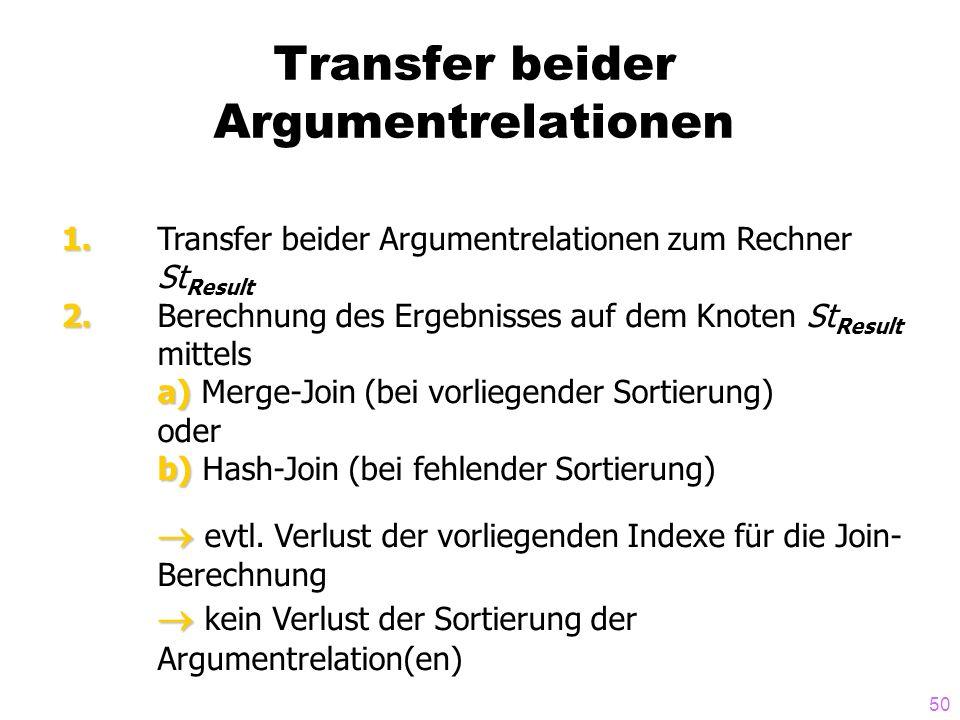 50 Transfer beider Argumentrelationen 1. 1. Transfer beider Argumentrelationen zum Rechner St Result 2. 2. Berechnung des Ergebnisses auf dem Knoten S