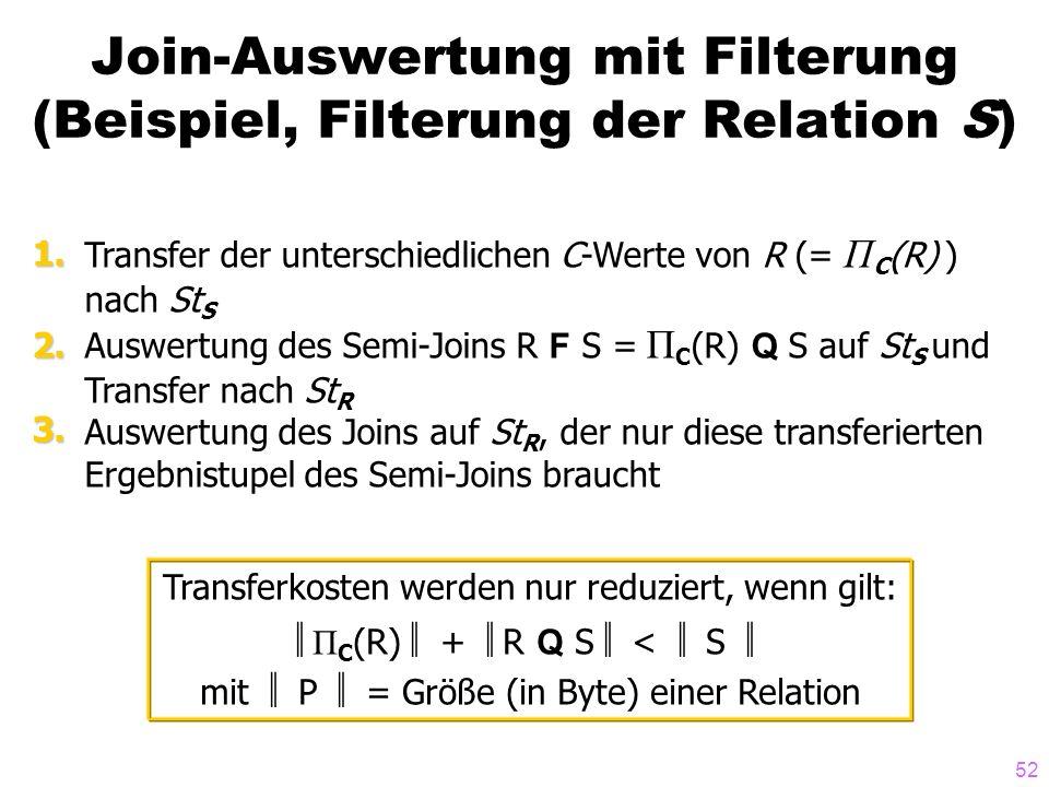 52 Join-Auswertung mit Filterung (Beispiel, Filterung der Relation S) Transfer der unterschiedlichen C-Werte von R (= Π C (R) ) nach St S Auswertung des Semi-Joins R F S = Π C (R) Q S auf St S und Transfer nach St R Auswertung des Joins auf St R, der nur diese transferierten Ergebnistupel des Semi-Joins braucht 1.2.3.