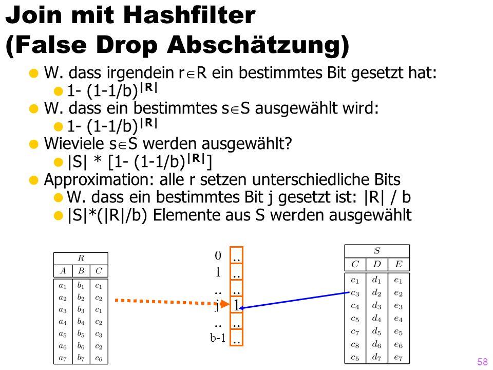 58 Join mit Hashfilter (False Drop Abschätzung) W. dass irgendein r R ein bestimmtes Bit gesetzt hat: 1- (1-1/b) |R| W. dass ein bestimmtes s S ausgew