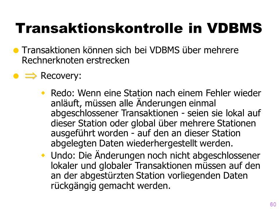 60 Transaktionskontrolle in VDBMS Transaktionen können sich bei VDBMS über mehrere Rechnerknoten erstrecken Recovery: Redo: Wenn eine Station nach einem Fehler wieder anläuft, müssen alle Änderungen einmal abgeschlossener Transaktionen - seien sie lokal auf dieser Station oder global über mehrere Stationen ausgeführt worden - auf den an dieser Station abgelegten Daten wiederhergestellt werden.