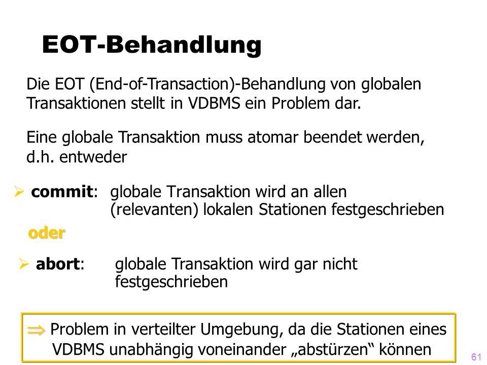61 EOT-Behandlung commit: globale Transaktion wird an allen (relevanten) lokalen Stationen festgeschrieben Die EOT (End-of-Transaction)-Behandlung von globalen Transaktionen stellt in VDBMS ein Problem dar.