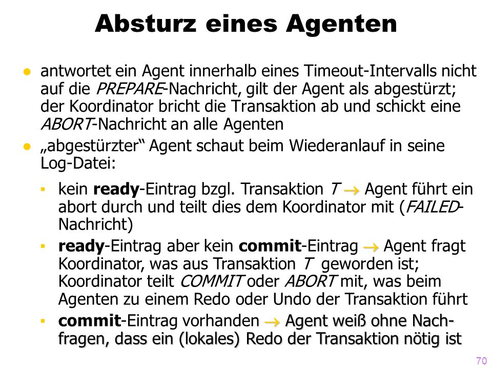 70 Absturz eines Agenten antwortet ein Agent innerhalb eines Timeout-Intervalls nicht auf die PREPARE-Nachricht, gilt der Agent als abgestürzt; der Ko