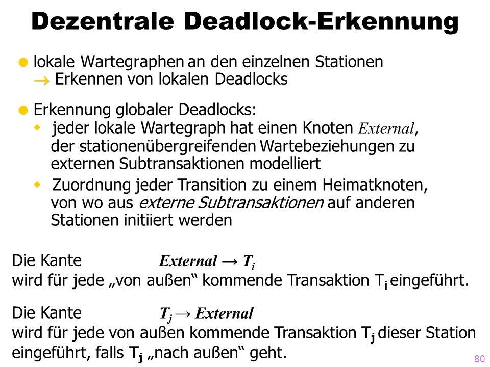 80 Dezentrale Deadlock-Erkennung lokale Wartegraphen an den einzelnen Stationen Erkennen von lokalen Deadlocks Erkennung globaler Deadlocks: jeder lok