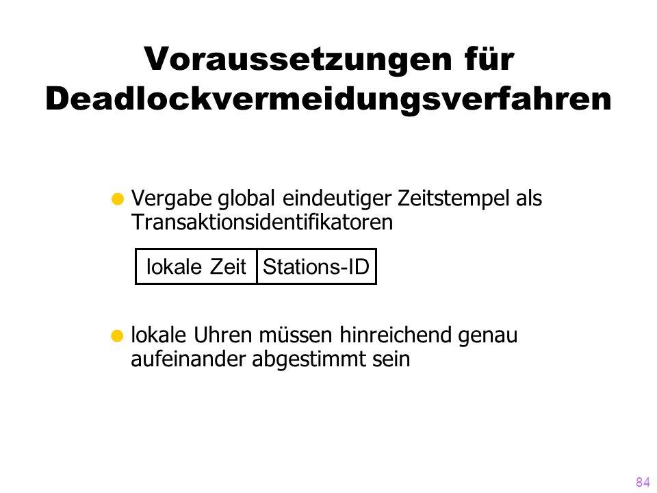 84 Voraussetzungen für Deadlockvermeidungsverfahren Vergabe global eindeutiger Zeitstempel als Transaktionsidentifikatoren lokale Uhren müssen hinreichend genau aufeinander abgestimmt sein lokale Zeit Stations-ID