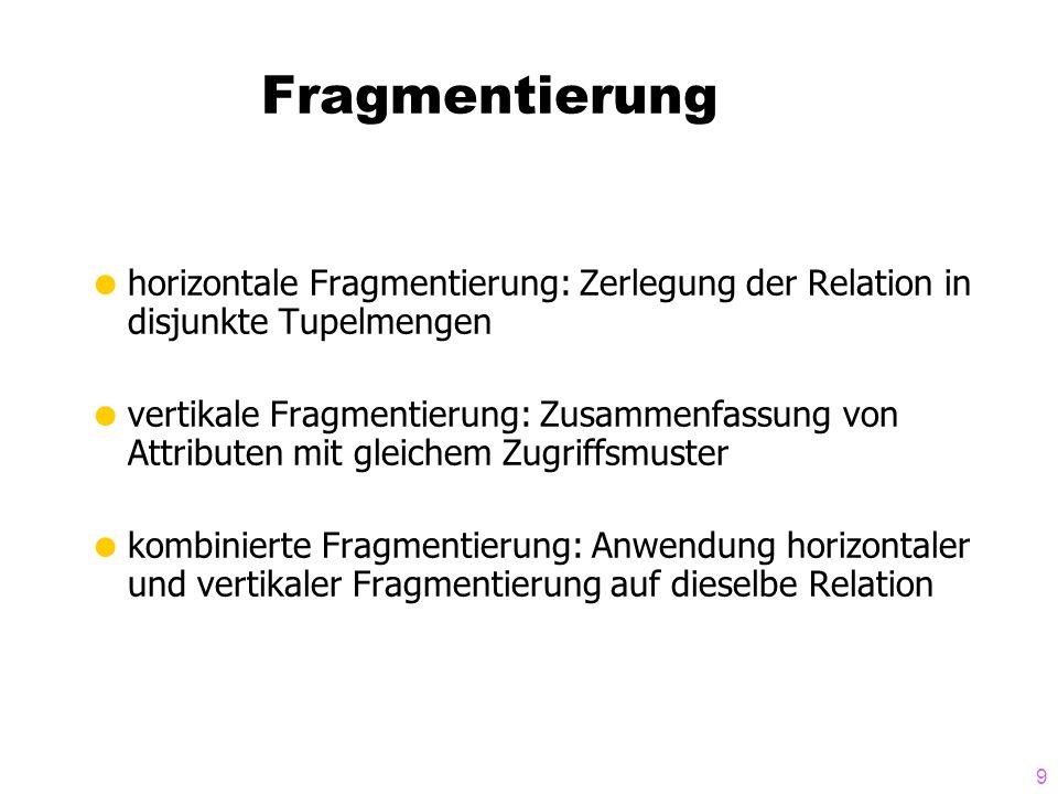 9 Fragmentierung horizontale Fragmentierung: Zerlegung der Relation in disjunkte Tupelmengen vertikale Fragmentierung: Zusammenfassung von Attributen mit gleichem Zugriffsmuster kombinierte Fragmentierung: Anwendung horizontaler und vertikaler Fragmentierung auf dieselbe Relation