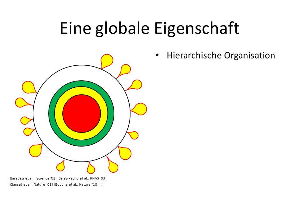 Eine globale Eigenschaft Hierarchische Organisation [Barabasi et al., Science 02] [Sales-Padro et al., PNAS 03] [Clauset et al., Nature 08] [Boguna et