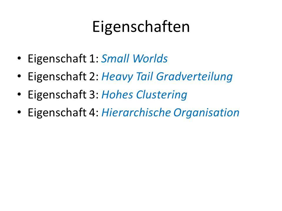 Eigenschaften Eigenschaft 1: Small Worlds Eigenschaft 2: Heavy Tail Gradverteilung Eigenschaft 3: Hohes Clustering Eigenschaft 4: Hierarchische Organi
