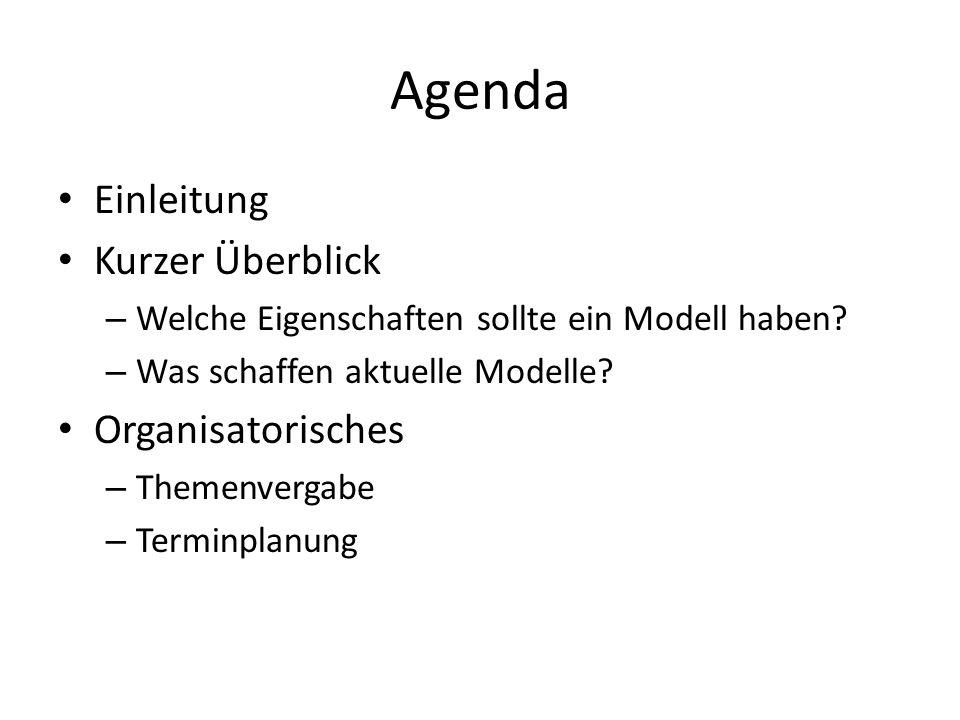 Agenda Einleitung Kurzer Überblick – Welche Eigenschaften sollte ein Modell haben? – Was schaffen aktuelle Modelle? Organisatorisches – Themenvergabe