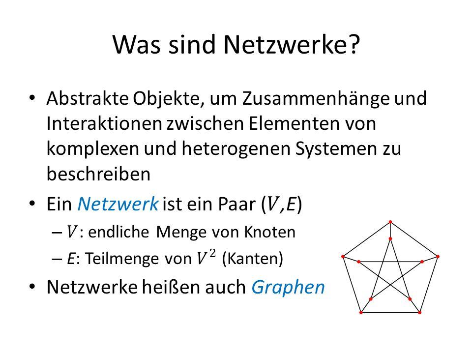 Beispiele für reale Netzwerke Facebook – V: alle Mitglieder – E: {v,v} ist eine Kante falls v und v befreundet sind Gehirn – V: Neuronen – E: Verbindungen zwischen den Neuronen Internet – V: Alle Router – E: Direkte Verbindungen zwischen den Routern