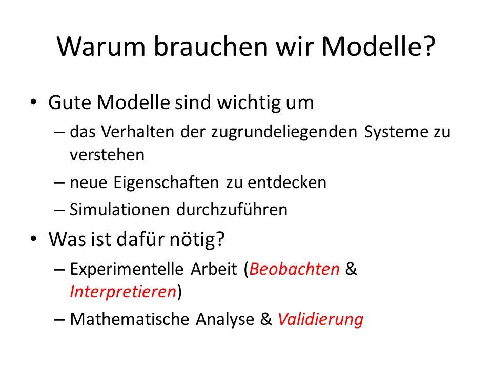 Warum brauchen wir Modelle? Gute Modelle sind wichtig um – das Verhalten der zugrundeliegenden Systeme zu verstehen – neue Eigenschaften zu entdecken