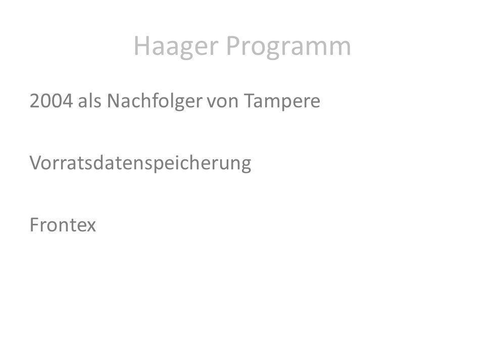 Haager Programm 2004 als Nachfolger von Tampere Vorratsdatenspeicherung Frontex