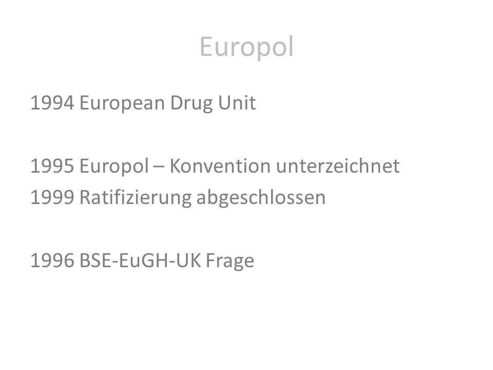 Europol 1994 European Drug Unit 1995 Europol – Konvention unterzeichnet 1999 Ratifizierung abgeschlossen 1996 BSE-EuGH-UK Frage