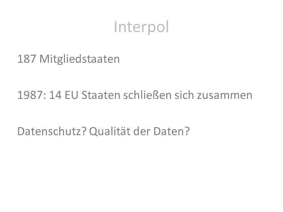 Interpol 187 Mitgliedstaaten 1987: 14 EU Staaten schließen sich zusammen Datenschutz? Qualität der Daten?