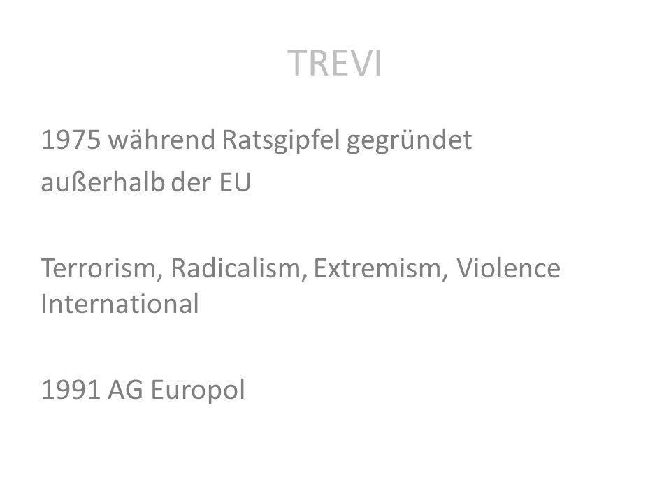 TREVI 1975 während Ratsgipfel gegründet außerhalb der EU Terrorism, Radicalism, Extremism, Violence International 1991 AG Europol