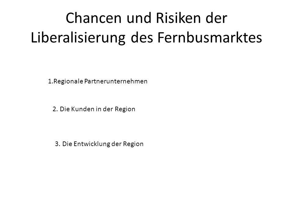 Chancen und Risiken der Liberalisierung des Fernbusmarktes 1.Regionale Partnerunternehmen 2. Die Kunden in der Region 3. Die Entwicklung der Region