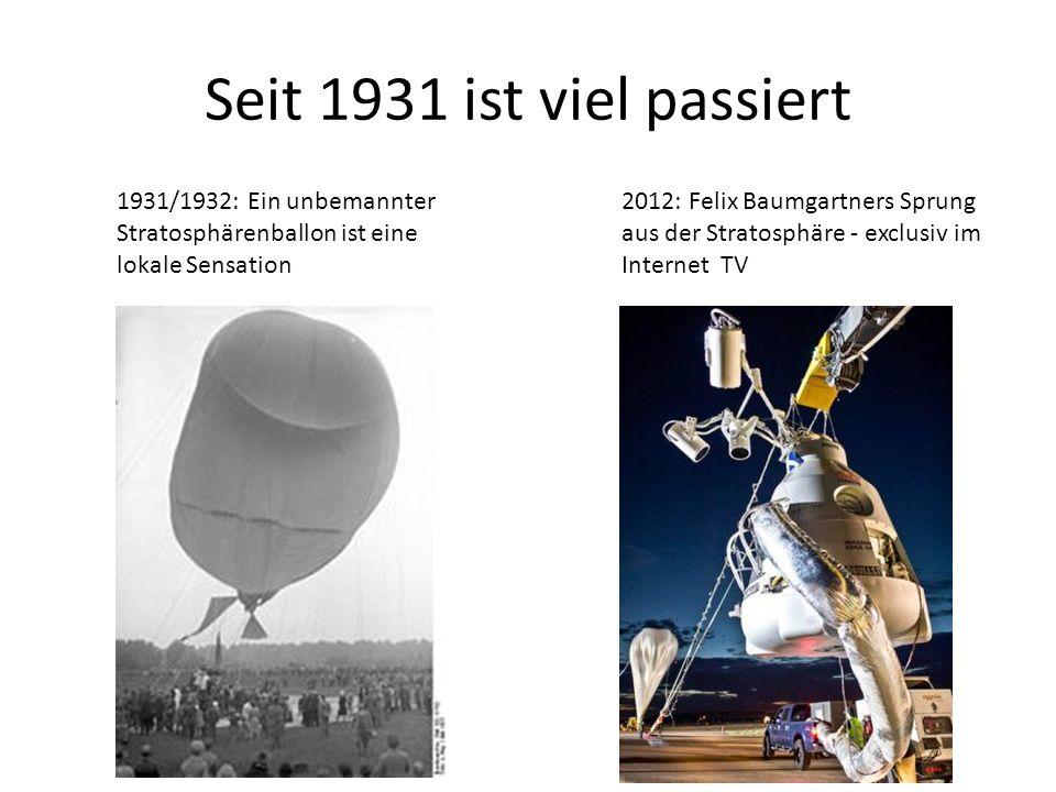 Seit 1931 ist viel passiert 1931/1932: Ein unbemannter Stratosphärenballon ist eine lokale Sensation 2012: Felix Baumgartners Sprung aus der Stratosph