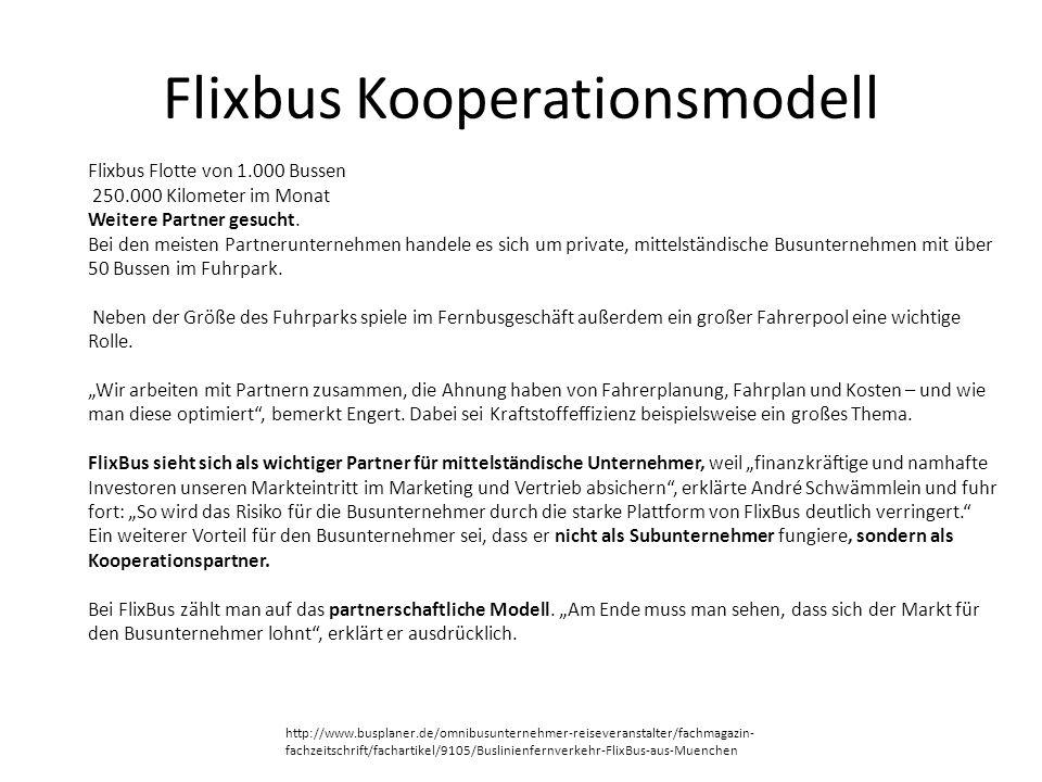 Flixbus Kooperationsmodell Flixbus Flotte von 1.000 Bussen 250.000 Kilometer im Monat Weitere Partner gesucht. Bei den meisten Partnerunternehmen hand