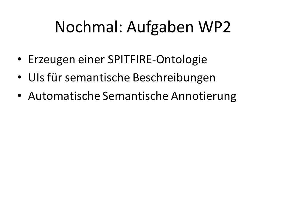 Nochmal: Aufgaben WP2 Erzeugen einer SPITFIRE-Ontologie UIs für semantische Beschreibungen Automatische Semantische Annotierung