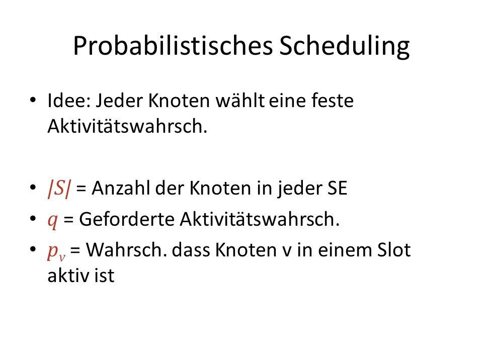 Probabilistisches Scheduling Idee: Jeder Knoten wählt eine feste Aktivitätswahrsch.