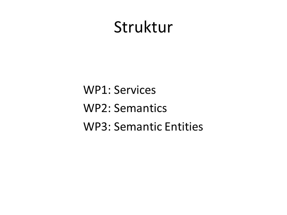 Struktur WP1: Services WP2: Semantics WP3: Semantic Entities