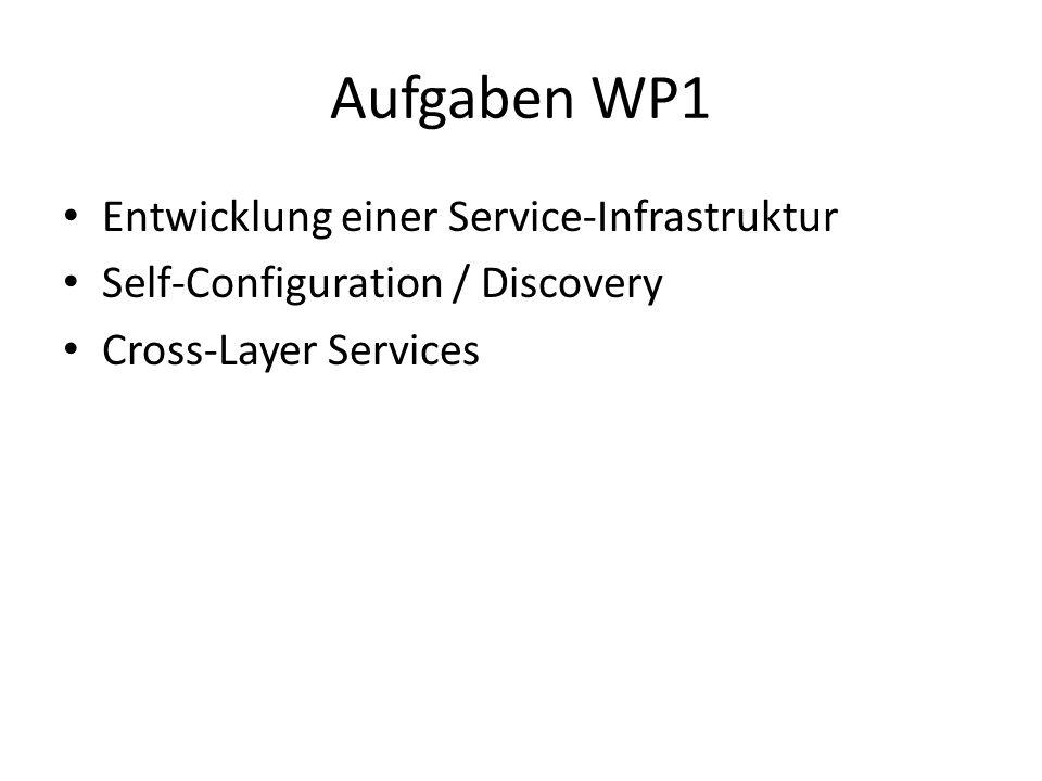 Aufgaben WP1 Entwicklung einer Service-Infrastruktur Self-Configuration / Discovery Cross-Layer Services