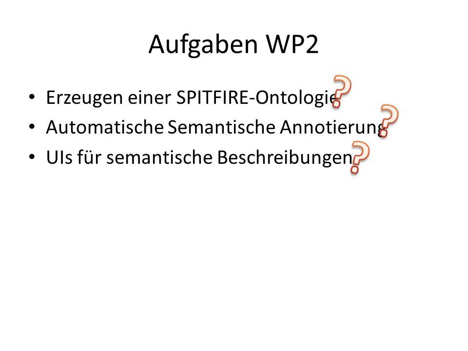 Aufgaben WP2 Erzeugen einer SPITFIRE-Ontologie Automatische Semantische Annotierung UIs für semantische Beschreibungen