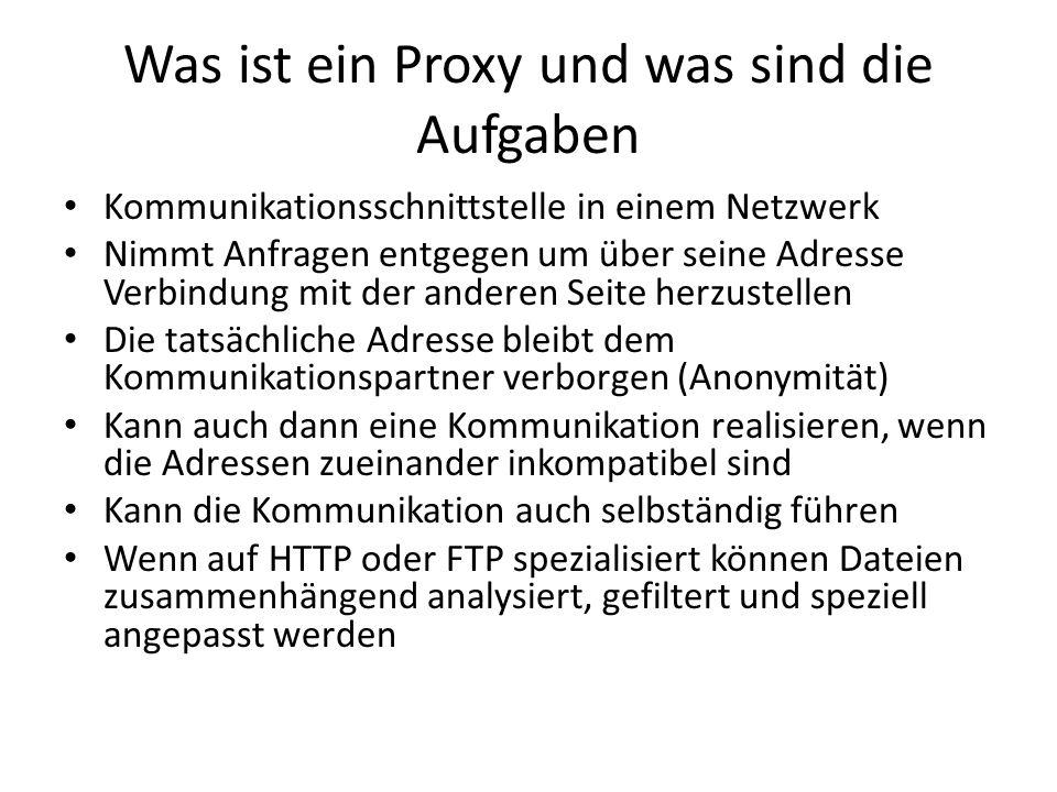 Was ist ein Proxy und was sind die Aufgaben Kommunikationsschnittstelle in einem Netzwerk Nimmt Anfragen entgegen um über seine Adresse Verbindung mit