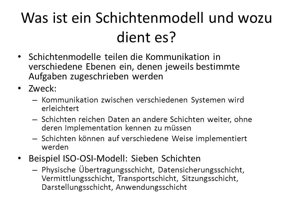 Was ist ein Schichtenmodell und wozu dient es? Schichtenmodelle teilen die Kommunikation in verschiedene Ebenen ein, denen jeweils bestimmte Aufgaben