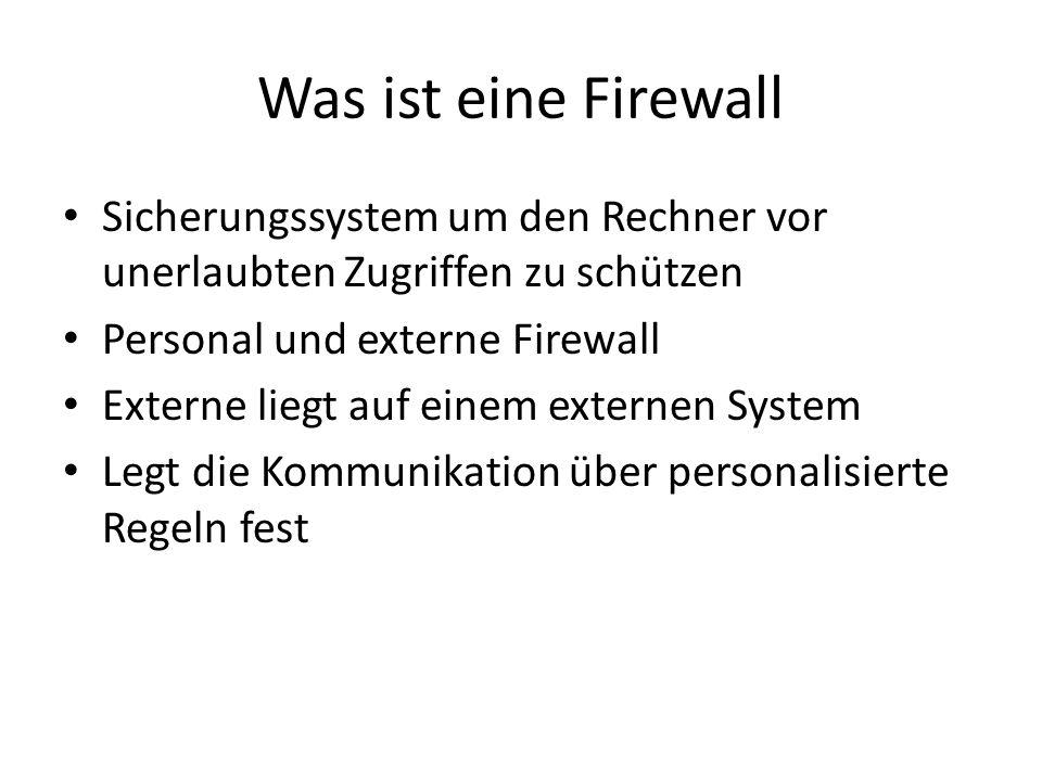 Was ist eine Firewall Sicherungssystem um den Rechner vor unerlaubten Zugriffen zu schützen Personal und externe Firewall Externe liegt auf einem exte