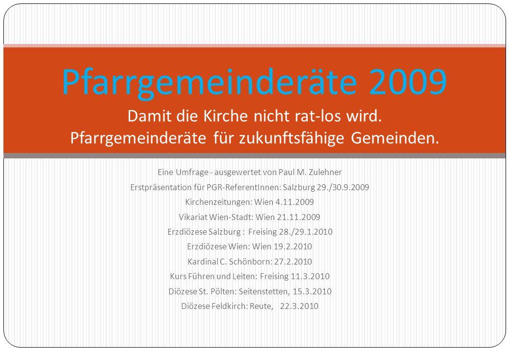 Eine Umfrage - ausgewertet von Paul M. Zulehner Erstpräsentation für PGR-ReferentInnen: Salzburg 29./30.9.2009 Kirchenzeitungen: Wien 4.11.2009 Vikari